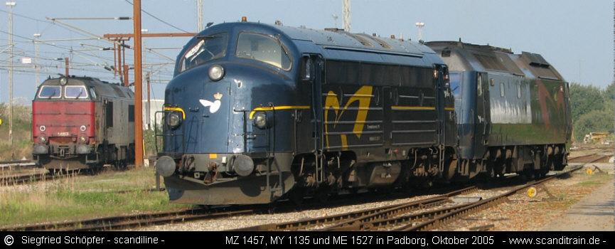 alle dänische Strecken-Dieseloks: links eine MZ, in der Mitte die letzte MY der DSB und rechts eine ME