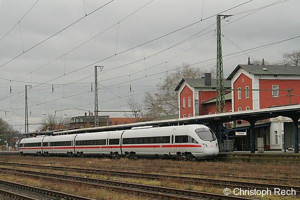 Planmäßig fahren ICE-TD nicht über Soest. 605 010 war am 25. Februar 2007 jedoch als Ersatzzug wegen einer Streckensperrung vor Ort.