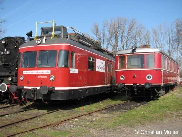 Turmtriebwagen und Esslinger im Eisenbahnmuseum Darmstadt Kranichstein am 11.3.2007 . Siehe http://www.seilbahnen-und-mehr.net/Darmstadt-Kranichstein/