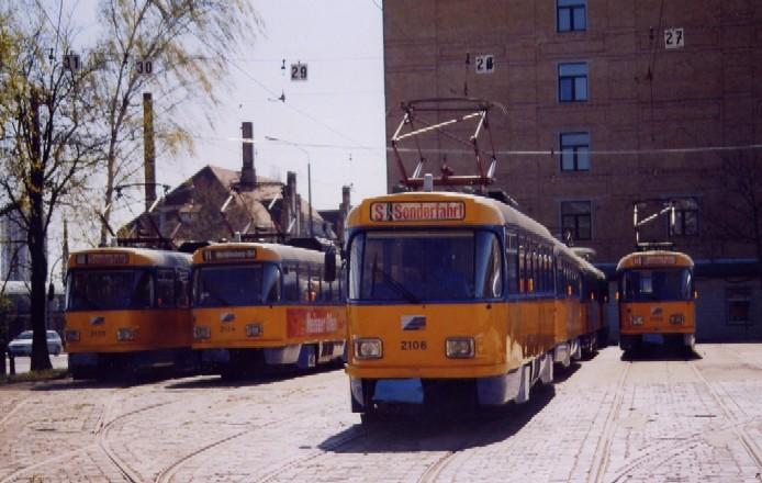 Wochenendschlaf der T4DM im Leipziger Strassenbahnhof