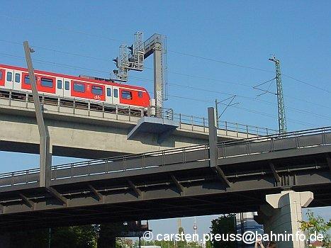 Ein S-Bahnzug der Baureihe 425 überquert am 8. Juni 2006 die für den Regional- und Fernverkehr in Berlin errichtete Brücke über die Perleberger Straße in Moabit, den so genannten