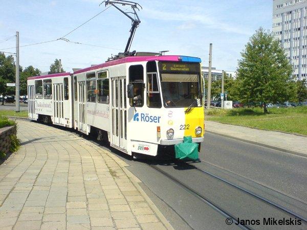 Straßenbahn der Linie 2 in Frankfurt (Oder) mit dem Fahrziel