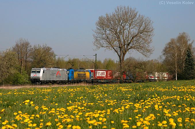 189 938 von TXLogistik ist zusammen mit einer Schwestermaschine am Vormittag des 25.04.2010 mit einem Containerzug von München kommend in Richtung Brenner unterwegs. Die Aufnahme entstand in der frühlingshaft anmutenden Ortschaft Haus bei Ostermünchen.