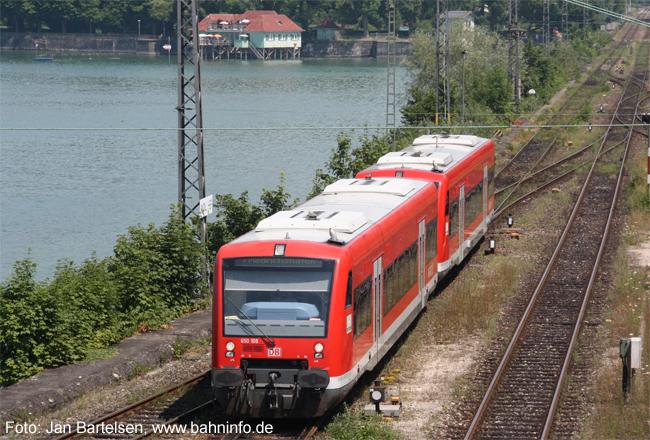 """VT 650 108 vom Typ """" Regio-Shuttle RS1"""" am 14.07.2010 bei der Einfahrt in Lindau Hauptbahnhof."""