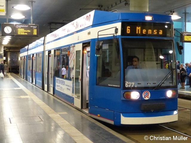 Straßenbahn der Linie 6 Richtung Endstation