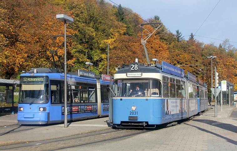 Alt und neu direkt nebeneinander: aufgenommen am Scheidplatz in München am 4.11.2014.
