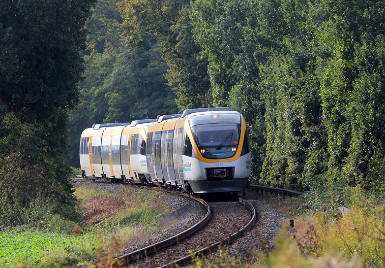 Am 12.10.2015 wurde eine Doppeltraktion Talent der Eurobahn kurz vor Lage (Westf) aufgenommen