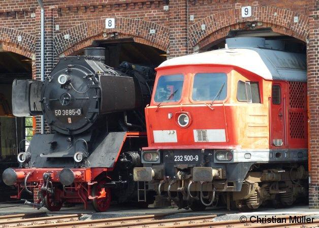 Güterzuglok 50 3685-0 neben Taigatrommel 232 500-9 während dem Lokschuppenfest in Wittenberge Anfang Juli 2016.
